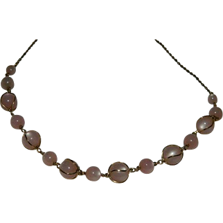 Soft Pink Moonglow Caged Bead Necklace