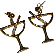 Fun Festive Avon Cocktail Martini Glass Earrings Pierced