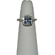 Show Stopper! Sterling Silver & Crystal Stone Engagement Style Ring sz 5.25