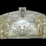 Art Deco Llewellyn Lucite Rhinestone Purse Clutch Amazing!