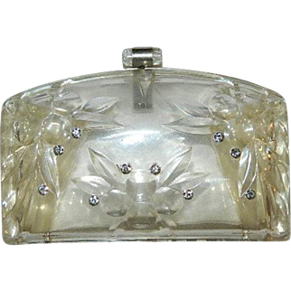 Art Deco Llewellyn Lucite Rhinestone Purse Clutch Amazing!