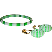 Pop! French Laminated Lucite Wintergreen on White Funky Earrings And Bracelet Set