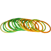 Set of 14 Thin Mod Early Lucite Bangles in Summer Colors