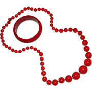 Cherry Red Early Lucite Beaded Necklace and Matching Bangle Bracelet