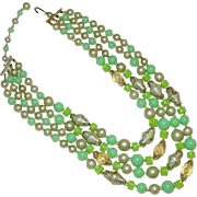 Japan Import LIme Green Summer Multi Strand Necklace Lucite 4 strands