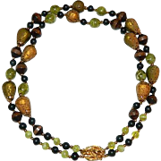 Rare Cork Wood Marbled Lucite Double Strand Import Necklace