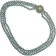 Elegant Blueish Silvery Beaded Triple Strand Over the Top Fancy Clasp Necklace