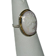 Victorian Pink Shell Cameo Sterling & Gold Ring sz 7