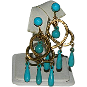 Majestic Turquoise Enamel Beaded Trinity Hoop Earrings