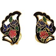 Butterfly Wing Cloisonne Enamel Earrings