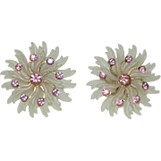 Huge Early Celluloid Pink Rhinestone Pinwheel Earrings