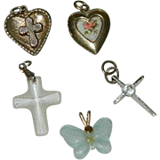 Collection of Vintage Children's Charms ~ Religious Crosses , Hearts and Butterfly
