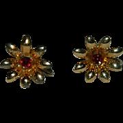 Pretty Ruby Red Rhinestone Gold Plated Daisy Earrings