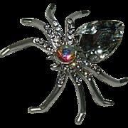 Vintage Silver Tone Clear Rhinestone Spider Brooch
