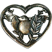 Highly Prized Coro Sterling Bird Hearts and Heather Brooch Pin