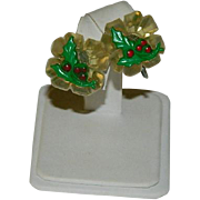 Super Collectible Early Lucite & Celluloid Christmas Earrings