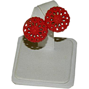 Lacey Red Early Celluloid Button Earrings