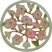 Feminine Celluloid Pink Floral Brooch