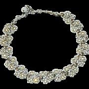 Coro Gorgeous Summer White Rhinestone Enamel Floral Necklace