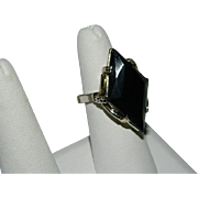 Runway Worthy Big Black Faceted Stone Statement Ring ~ Adjustable