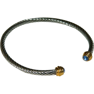 Blue Stone Silver Cable Twist Cuff Bracelet