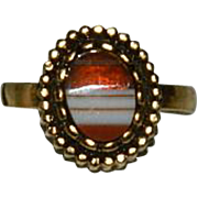 New Old store STock Banded Agate Ring by Uncas 10K GF