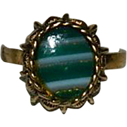 New Old Store Stock Uncas Banded Agate Ring Green, 10K GF Adjustable
