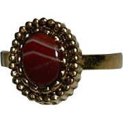 New Old Store Stock Banded Carnelian Agate Ring sz 5.5 Adjustable