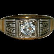 Uncas Men's Art Deco Style Ring sz 12