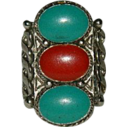 Old Trading Co. Faux Turquoise & Coral Ring sz 6.5 Adjustable