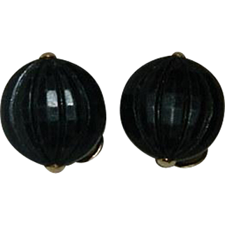 Napier Black Celluloid Wing Back Clip On Earrings