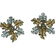 Sarah Coventry Two Tones Winter Wreath Leaf Earrings ~ Christmas
