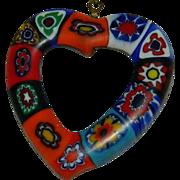 Fab Venetian Art Glass Millefiori Heart Shaped Pendant