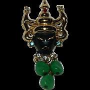 Unmarked Coro Oriental Black Faced Faux Jade Mask Brooch