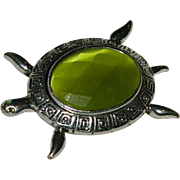 Brilliant Green Faceted Glass Turtle Brooch
