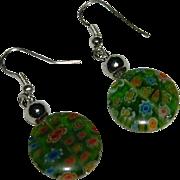 Apple Green Venetian Art Glass Millefiori Dangler Earrings