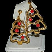Fun Christmas Tree Dangler Earrings Red Bulbs