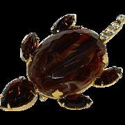 """Impressive Root Beer Amber Rhinestone Turtle Brooch ~ 3.5"""" Huge!"""