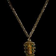 "Rare! Stoplight Green Rhinestone Pendant on 18"" Chain"