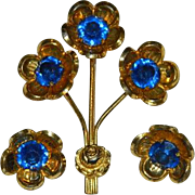 1940's  Gold Wash over Sterling Cobalt Blue Floral Spray Brooch & Earrings Set