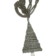 "Fab JJ Pewter Christmas Tree Pendant on Original 24"" Chain"