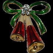 My Favorite Christmas Brooch ~Enamel Rhinestone Bells