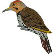 Hand Carved Painted Wood Pecker Brooch Pin