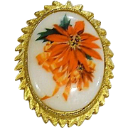 Perfect Holiday Poinsettia Porcelain Pin Brooch
