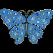 Rare Avon Royal Blue & AB Rhinestone Embedded Butterfly Brooch