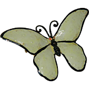 Rare Sandor Enamel Butterfly in Pale Yellow and Black