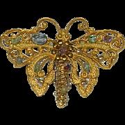 Stunning Art Nouveau Glass Seed Bead Butterfly Brooch