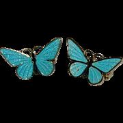 Beautiful Powder Blue Guilloche Enamel Butterfly Twins