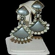 Unique Silvery Grey Thermoset Plastic Rhinestone Dangler Earrings