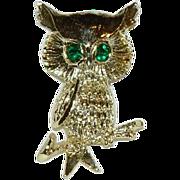 Gerry's Green Rhinestone Owl Brooch